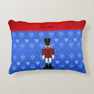 Personalized name nutcracker blue snowman trellis accent pillow