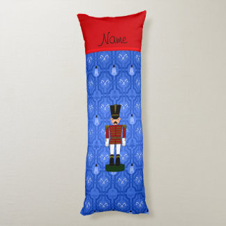 Personalized name nutcracker blue snowman trellis body pillow