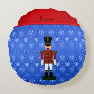 Personalized name nutcracker blue snowman trellis round pillow