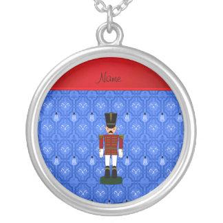 Personalized name nutcracker blue snowman trellis custom necklace