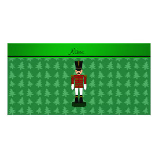 Personalized name nutcracker green Christmas trees Card