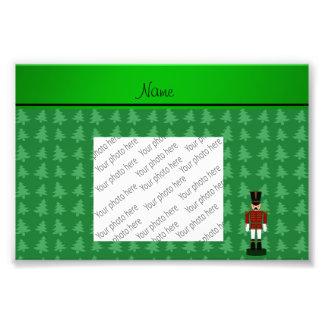 Personalized name nutcracker green Christmas trees Art Photo