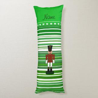 Personalized name nutcracker green stripes body pillow