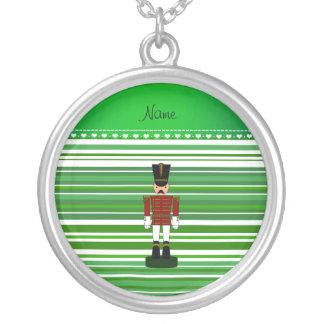 Personalized name nutcracker green stripes pendant