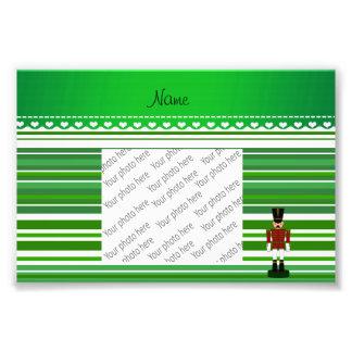 Personalized name nutcracker green stripes photo