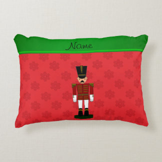 Personalized name nutcracker red snowflakes accent pillow