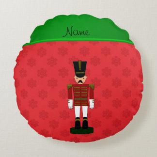 Personalized name nutcracker red snowflakes round pillow