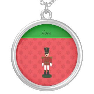 Personalized name nutcracker red snowflakes necklaces
