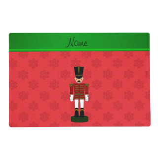 Personalized name nutcracker red snowflakes laminated placemat