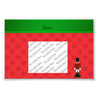 Personalized name nutcracker red snowflakes photographic print