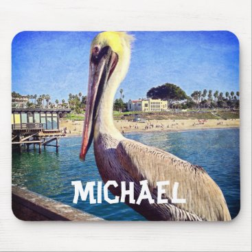 Personalized name oceanside pelican photo mousepad
