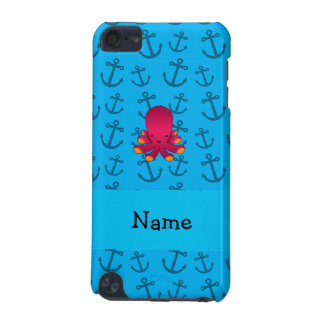 Personalized name octopus blue anchors pattern iPod touch (5th generation) cases