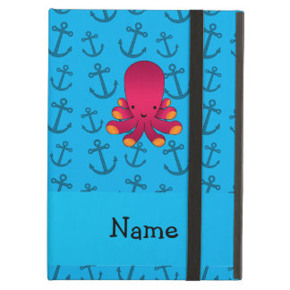 Personalized name octopus blue anchors pattern iPad cover