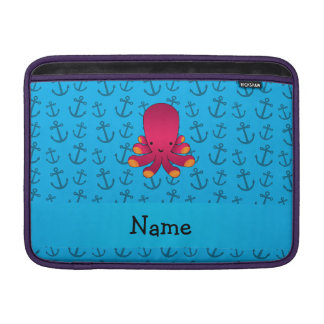 Personalized name octopus blue anchors pattern sleeve for MacBook air