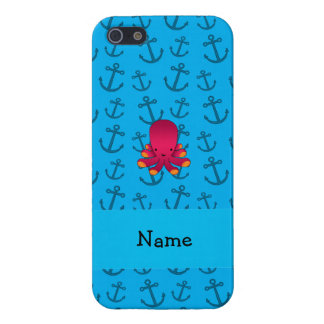 Personalized name octopus blue anchors pattern iPhone 5 case