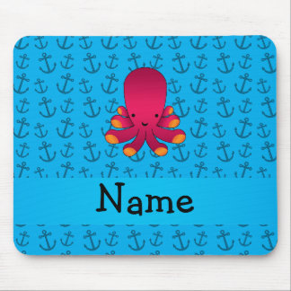 Personalized name octopus blue anchors pattern mouse pad