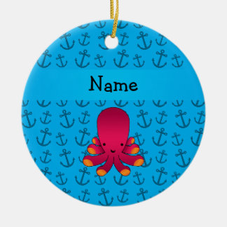 Personalized name octopus blue anchors pattern Double-Sided ceramic round christmas ornament