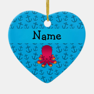 Personalized name octopus blue anchors pattern Double-Sided heart ceramic christmas ornament