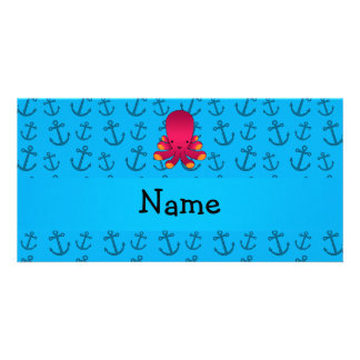 Personalized name octopus blue anchors pattern photo card