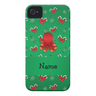 Personalized name octopus green candy canes bows iPhone 4 case