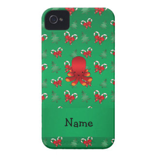 Personalized name octopus green candy canes bows iPhone 4 Case-Mate case