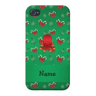 Personalized name octopus green candy canes bows covers for iPhone 4