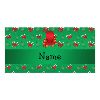 Personalized name octopus green candy canes bows photo card