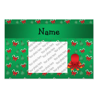 Personalized name octopus green candy canes bows photo print