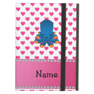 Personalized name octopus pink hearts polka dots iPad cover