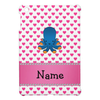 Personalized name octopus pink hearts polka dots iPad mini cover