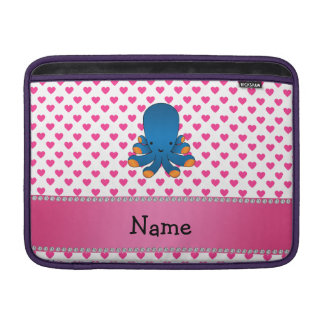 Personalized name octopus pink hearts polka dots sleeves for MacBook air