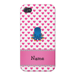 Personalized name octopus pink hearts polka dots covers for iPhone 4