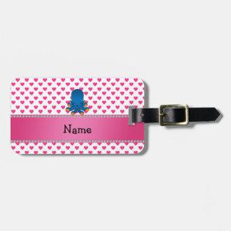 Personalized name octopus pink hearts polka dots bag tags