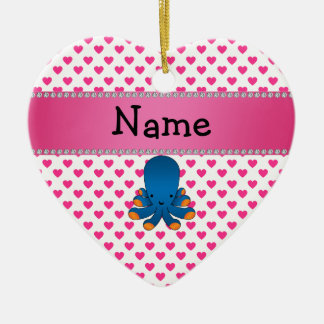 Personalized name octopus pink hearts polka dots Double-Sided heart ceramic christmas ornament