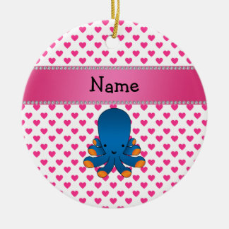 Personalized name octopus pink hearts polka dots Double-Sided ceramic round christmas ornament