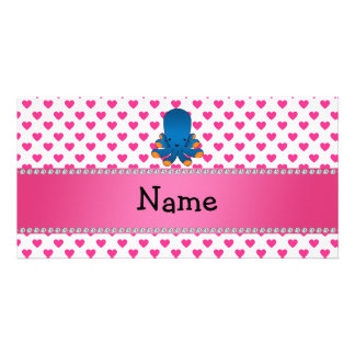 Personalized name octopus pink hearts polka dots photo card