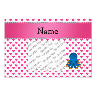 Personalized name octopus pink hearts polka dots photo print