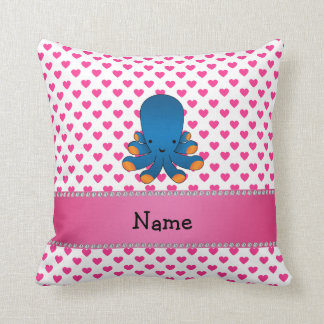 Personalized name octopus pink hearts polka dots pillows