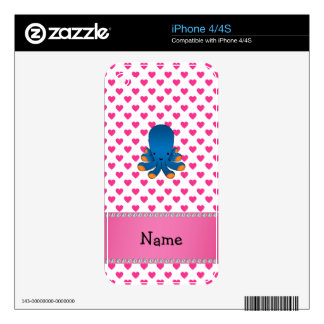 Personalized name octopus pink hearts polka dots iPhone 4S skins