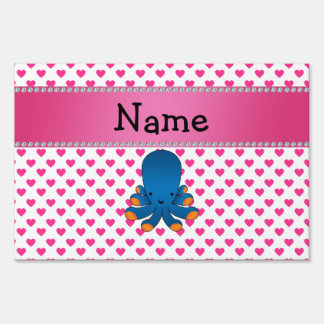 Personalized name octopus pink hearts polka dots signs
