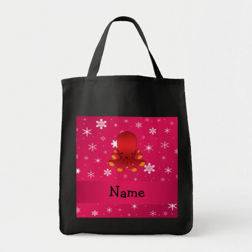 Personalized name octopus pink snowflakes bags