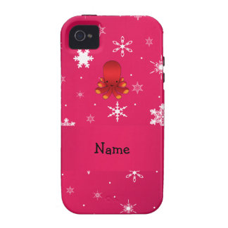 Personalized name octopus pink snowflakes iPhone 4/4S cases