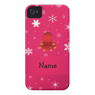 Personalized name octopus pink snowflakes iPhone 4 cover