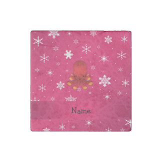 Personalized name octopus pink snowflakes stone magnet