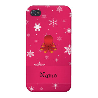 Personalized name octopus pink snowflakes iPhone 4 case