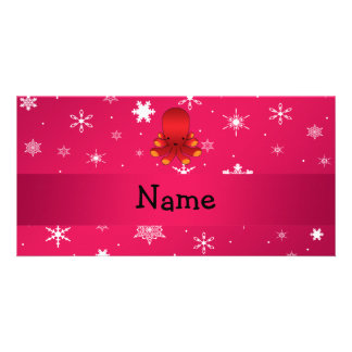 Personalized name octopus pink snowflakes photo card