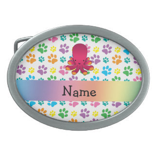 Personalized name octopus rainbow paws belt buckle