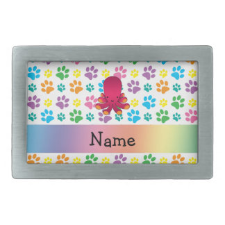 Personalized name octopus rainbow paws rectangular belt buckles
