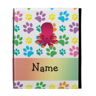 Personalized name octopus rainbow paws iPad case