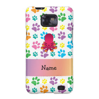 Personalized name octopus rainbow paws galaxy SII case